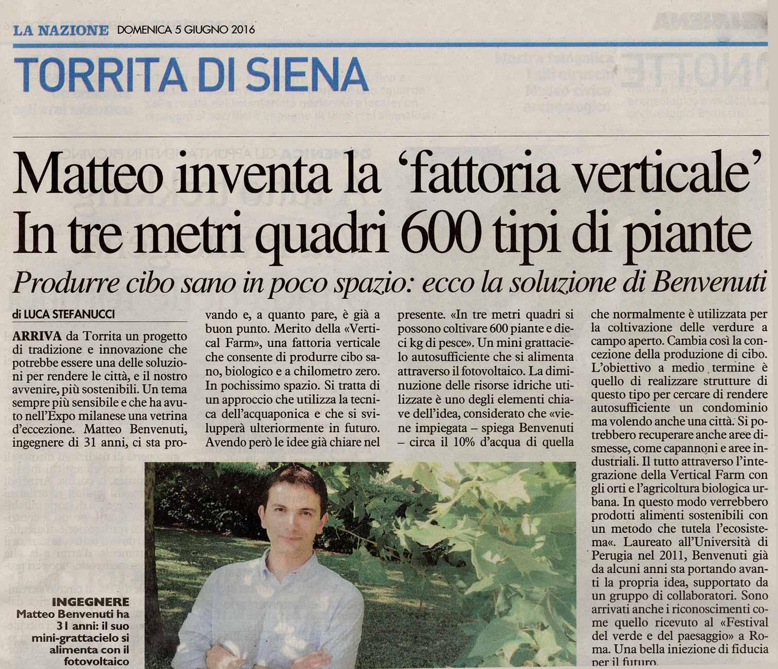 Intervista a Matteo Benvenuti - La Nazione, 2016